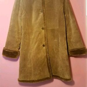 Vintage Jackets & Coats - 100% leather IB Exchange Brown suade sherpa jacket